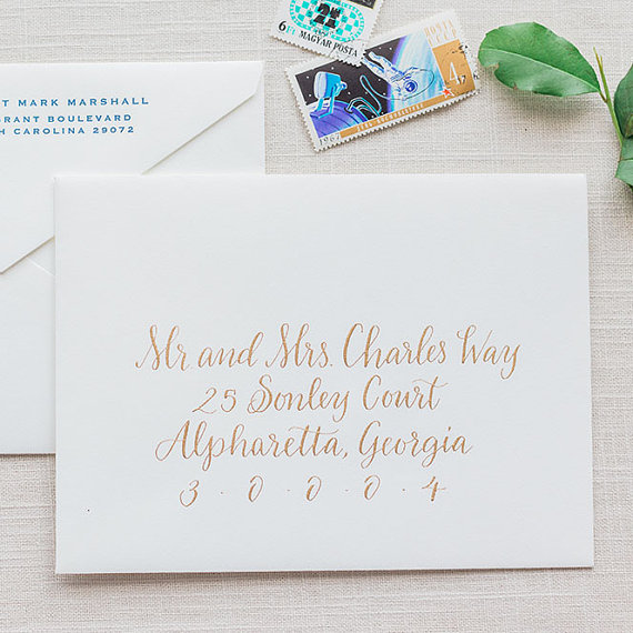 Wedding calligraphy envelope addressing gold modern calligraphy wedding invitations by leen machine midsouthbride