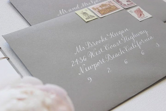 Wedding Calligraphy Envelope Addressing in White Ink - Escort Cards, Buffet Cards & Table Numbers Also Available - The Jacqueline Style by Southern Calligraphy - midsouthbride.com