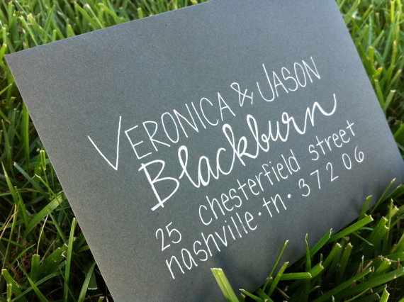 modern calligraphy wedding invitation addressing by GreySnail Press - midsouthbride.com