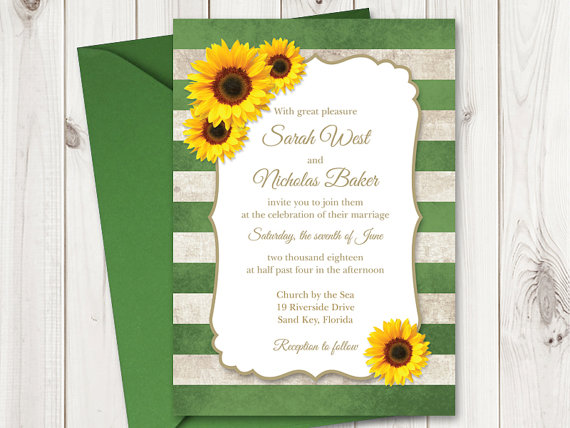 DIY Sunflower Wedding Invitation Printable Template with Green Stripes. Vintage Wedding Invitations. Rustic Wedding DIY by Shishko Templates