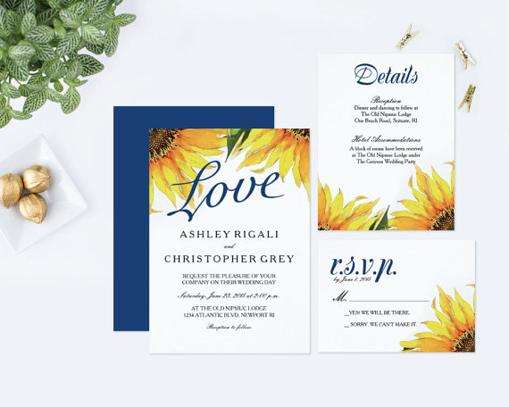 DIY Sunflower Wedding Invitation by VG Invites - midsouthbride.com
