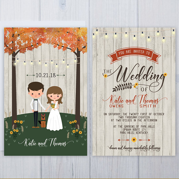 Fall Tree Wedding Invitations | German Shepard Dog Wedding Invitation Set | Wood Plank Wedding Stationery | Sunflower Wedding Invite Suite by Inviting Moments - midsouthbride.com