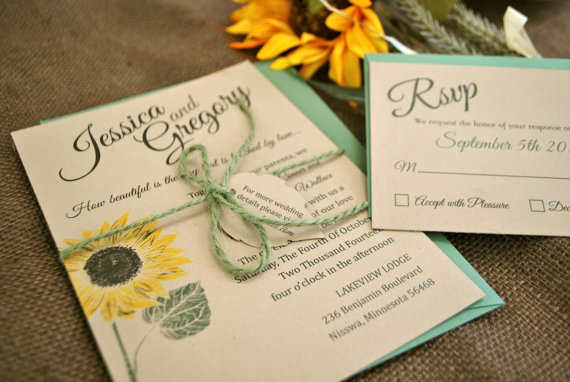 Kraft Sunflower Wedding Invitation