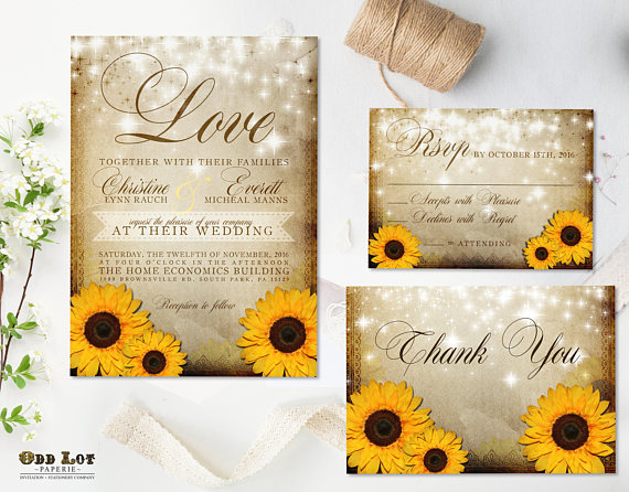 Rustic Sunflower Wedding Invitation and RSVP Yellow Sunflower Invitation Summer Wedding Fall Wedding DIY Printable Sunflower Wedding Set by Odd Lot Paperie - midsouthbride.com