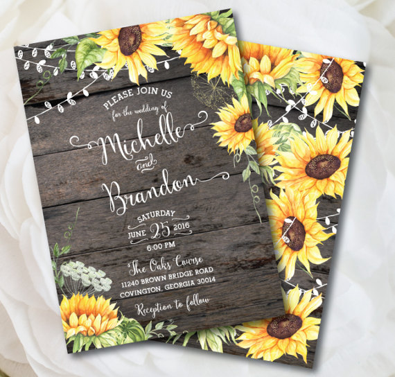 Rustic Sunflower Wedding Invitation by Posh Paper Occasion - midsouthbride.com