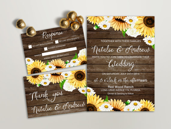 Rustic Wedding Invitation Printable, Sunflower Wedding Invitation, Brown Wood Country Wedding Invite, Printable Wedding Invitation Daisy by LIPA MEA - midsouthbride.com