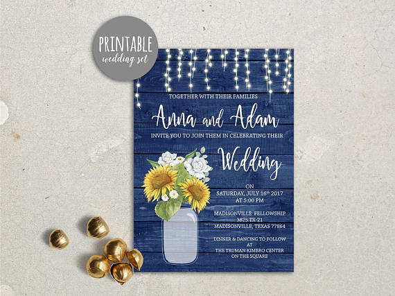 Rustic Wedding Invitation Sunflower Wedding Invitation Printable Wedding Invitation Blue Yellow Wedding Invite Fall wedding invitation by lipa mea - midsouthbride.com