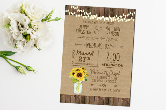 Sunflower Wedding Invitation Mason Jar Rustic Sunflower Printable Wedding Digital File Country Barn Wood Hanging Lights by Hazelnut Invites - midsouthbride.com