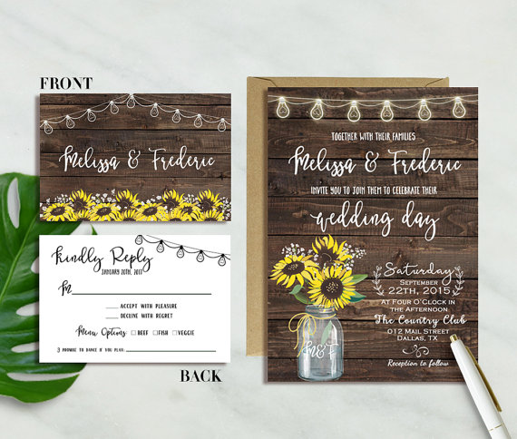Sunflower Wedding Invitation, Rustic Sunflower Wedding Invitation, Mason Jar Wedding Invite, Country Wedding, Woodland Wedding, Barn wedding by oh lilly designs - midsouthbride.com