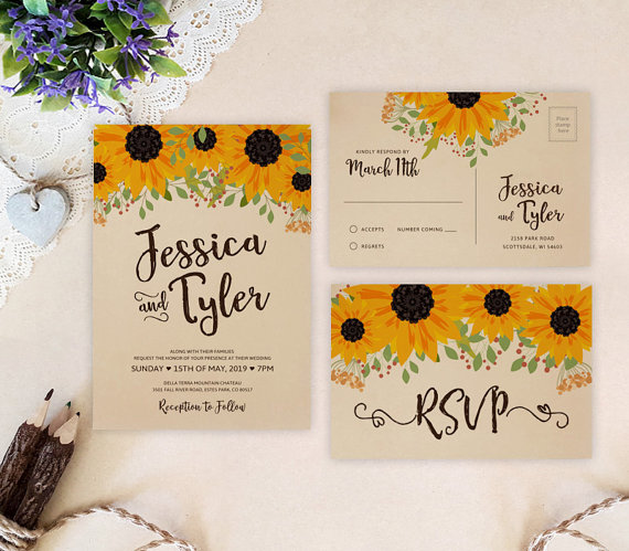 Sunflower wedding invitations printed on kraft paper | Fall wedding invites | Sunflower themed cards by Only by Invite - midsouthbride.com
