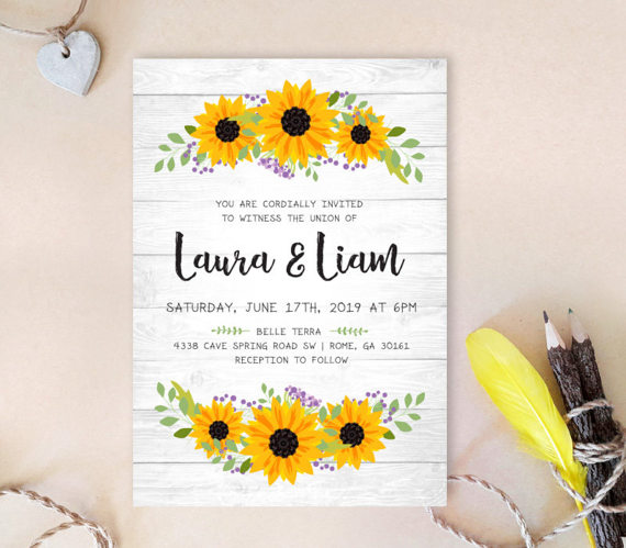 Wreath wedding invitation PRINTED | Sunflower wedding Invitations cheap | Rustic country wedding invites | Woodsy wedding by Only By Invite - midsouthbride.com