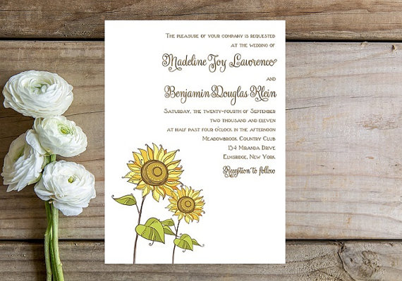 sunflower wedding invitation by Whimsical Prints - midsouthbride.com
