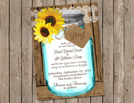 sunflower wedding invitations with shabby wood and mason jar by Miss Bliss Invitations - midsouthbride.com