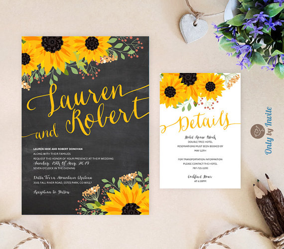 ustic sunflower wedding invitation and reception card pack | Fall wedding invitations | Chalkboard wedding invitations printed by Only By Invite - midsouthbride.com