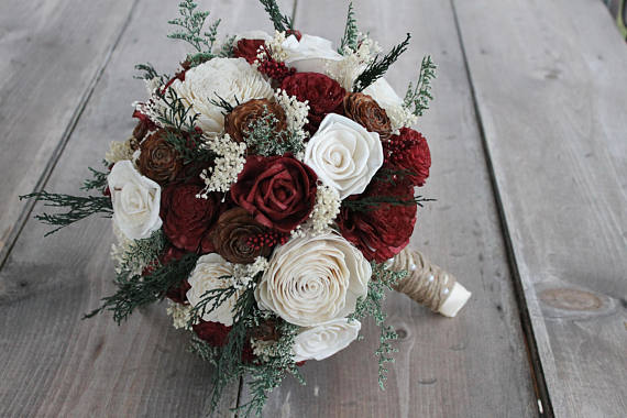 Winter wedding sola bouquet cedar rose burgundy ivory