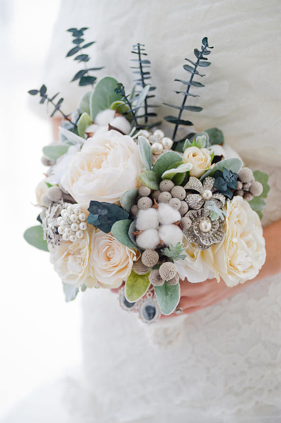 winter wedding bouquet idea - Custom Winter Wedding Bouquet, Silk Flower Bouquet, Brooch Bouquet, Artificial Bridal Bouquet, Artificial Flower Bouquet, Dried Flowers