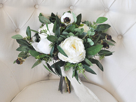 winter wedding bouquet idea - Winter Wedding Bouquet | White Ivory Peonies, Wild Raspberries, Seeded Eucalyptus | Winter Silk Bridal Bouquet