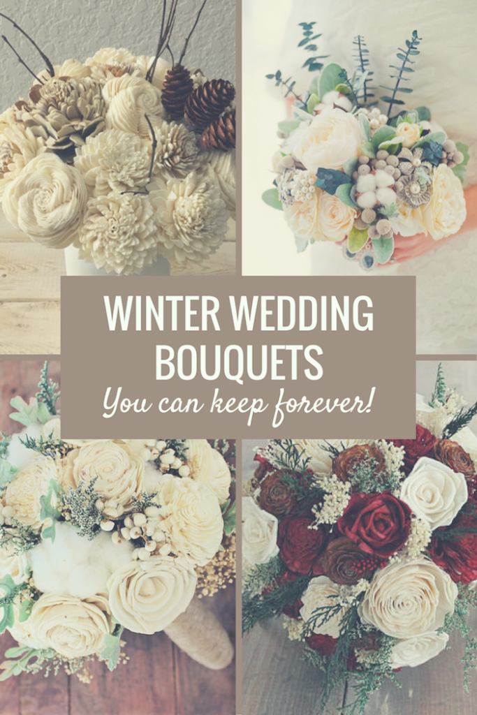 winter wedding bouquets with fake flowers wood flowers