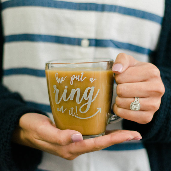 Engraved he put a ring on it Glass Coffee Mug by Happily Ever Etched - midsouthbride.com