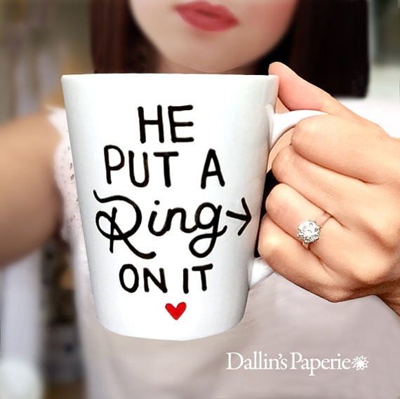 He Put A Ring On It Hand Painted Mug by Dallin's Paperie - midsouthbride.com