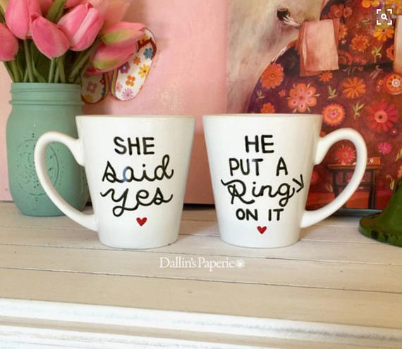 She said yes mug by Dallins Paperie - midsouthbride.com