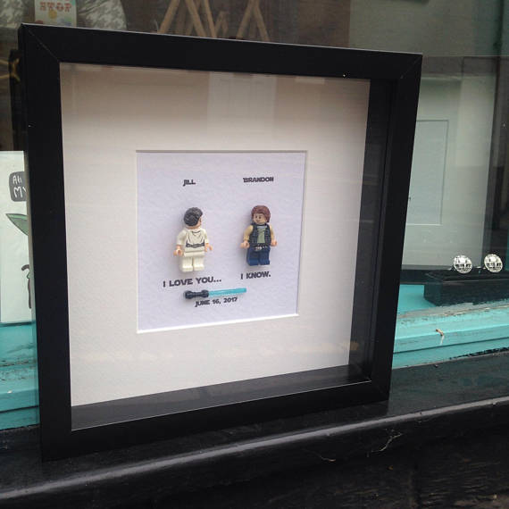 Star Wars I love you I know Princess Leia and Han Solo Personalised Star Wars Wedding frame by State of Distress