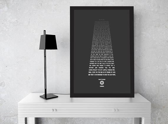 Star Wars Wedding Vows Print by Hunny Comb Proverbs