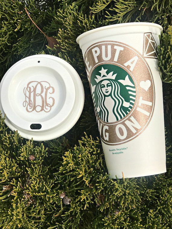Starbucks Bride He Put A Ring On It Mug by Personal Design Boutique - midsouthbride.com