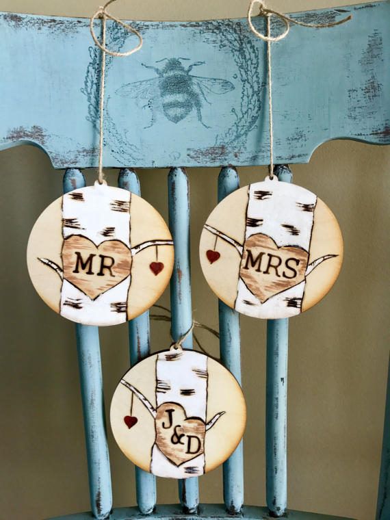 Birch Trees - Mr Mrs Wood Chair Signs by Kerley Crafts