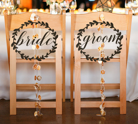 Bride and Groom Chair Signs by Tie The Knot Shoppe