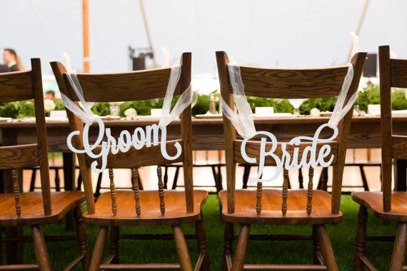 Bride and Groom Chair Signs for Wedding, Hanging Chair Signs Wooden Wedding Signs by ZCreateDesigns