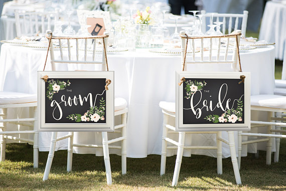 Floral Bride And Groom Chair Wedding Sign by Simon and Kabuki