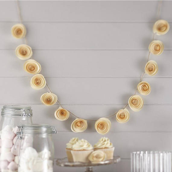 Diy rolled paper flower garland tutorial mid south bride ivory paper flower wedding garland by super sweet party mightylinksfo Choice Image