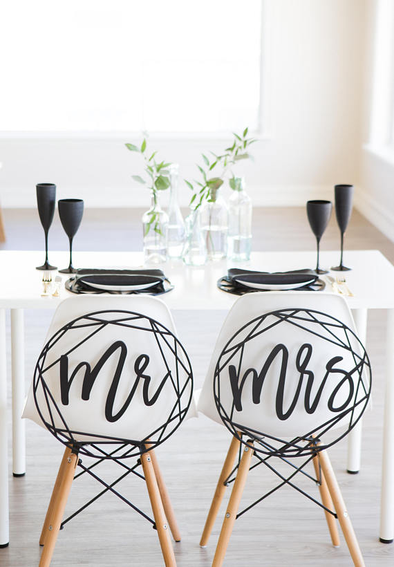 Modern Wedding Chair Signs Geometric Style for Bride and Groom Wedding Chairs by ZCreateDesign