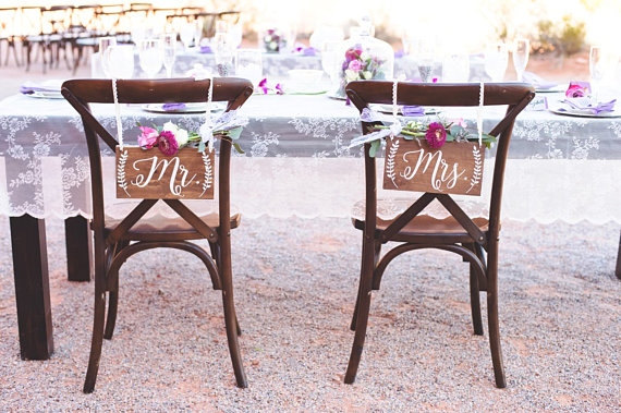 Mr and Mrs Chair Signs- Wedding Chair Sign by Cypress and Whim