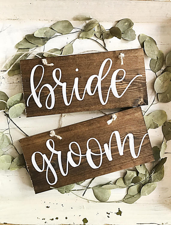 Sweetheart Table Signs | Chair Signs | Rustic Wood Wedding Signs by SalvagedChicMarket
