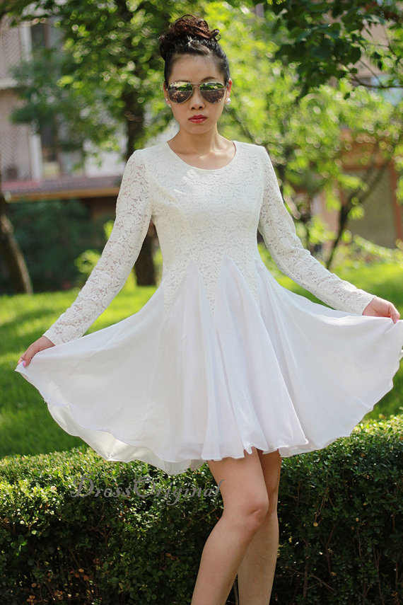Long Sleeved White Lace Dress by Dress Originals