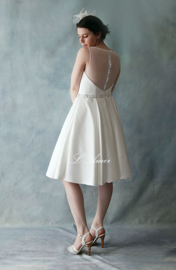 Short Satin Sheer Back Wedding Mini Dress by LAMei Bridal