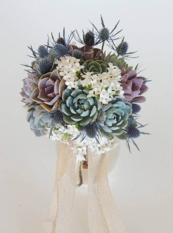 Succulent Bouquet Blue & Purple by Succulently Urban - midsouthbride.com