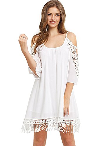 Summer Cold Shoulder Crochet Lace Sleeve Loose Beach Dress by Milumia