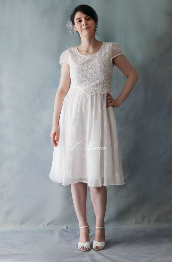 Sweet scoop neckline Tea Length A-line Party Little White Dress by LAmei Bridal
