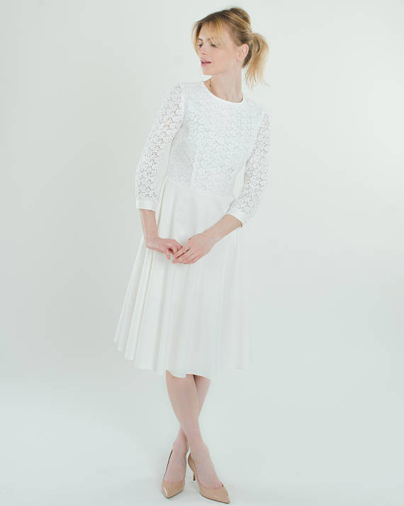 White Lace Cotton Dress Little White Dress by Mary's Outfit
