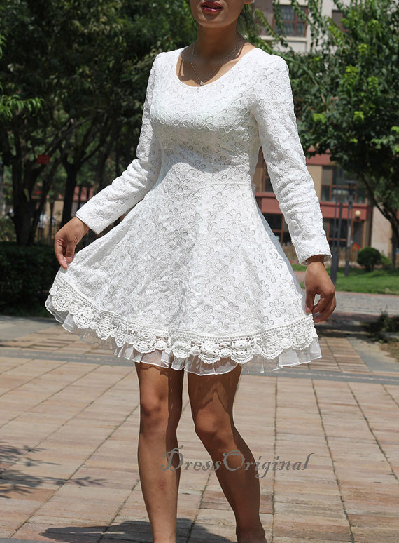 White Lace Mini Dress by Dress Original