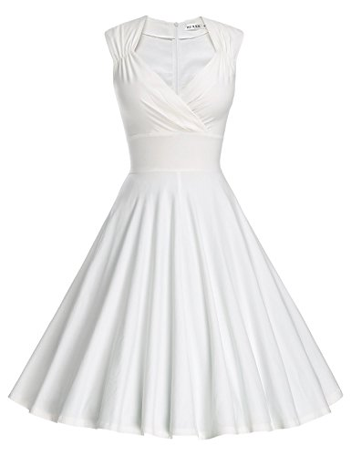 Women's 50s 60s Vintage Sexy V-neck Swing Dress - Little White Dress