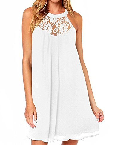 Women's Sleeveless Lace Patchwork Loose Casual Mini Chiffon Dress by Dreagal