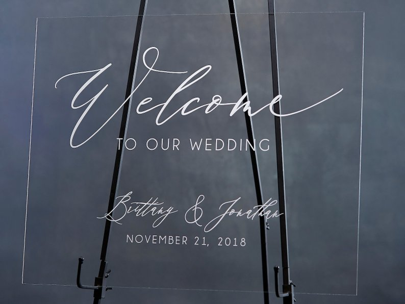 Elegant Wedding Welcome Sign - Personalized Welcome Sign with Names & Date - Welcome to Our Wedding Acrylic Wedding Sign by Rich Design Co - midsouthbride.com