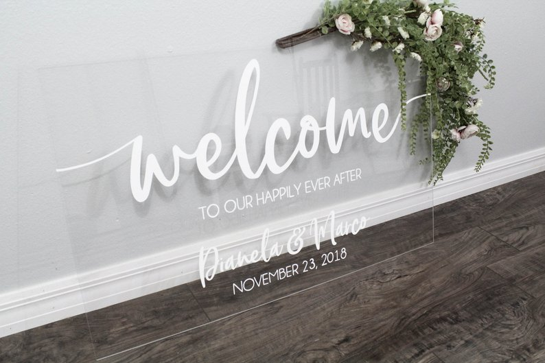 Welcome To Our Happily Ever After Sign | Acrylic Wedding Sign | Wedding Welcome Sign | Acrylic Welcome Sign | Custom Wedding Sign by Woodland Custom Design - midsouthbride.com